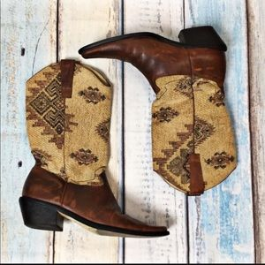 MATTISSE Tapestry Western Leathe distressed Boots